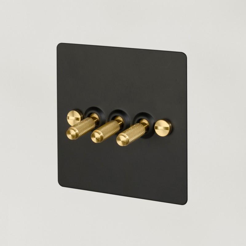 Выключатель трехклавишный Black/Brass, Buster&Punch (Англия)