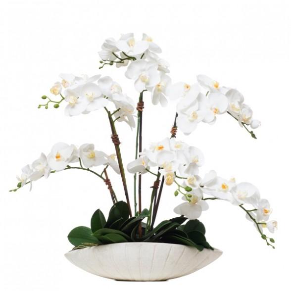Белый фаленопсис в овальной чаше, Lux Art Silks (Америка)