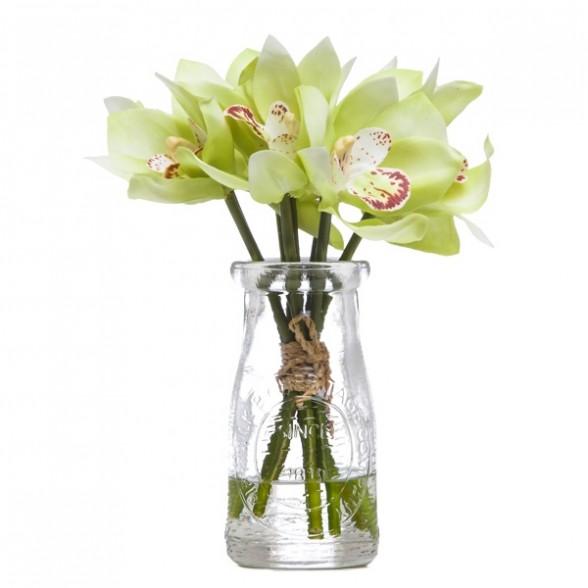 Зеленый цимбидиум в вазе, Lux Art Silks (Америка)